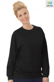 Trigema - Women's Long Sleeve Sweat Shirt - 100% Organic Cotton - Black 2019