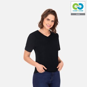 Women's Black V-Neck T-Shirt - 2020