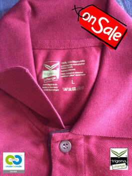 SALE (ONE ONLY) - Mens Large Cradle to Cradle Certified™ Sangria Polo T-Shirt