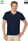 Mens Navy round neck buttoned T-Shirt - 2019