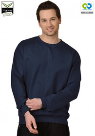 Trigema - Men's Long Sleeve Sweat Shirt - 100% Organic Cotton - Navy - 2019