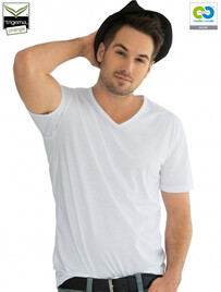 Mens White V-Neck T-Shirts - 2019