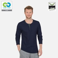 Trigema - Men's Navy Round Neck with button Strip Organic Cotton Long T-Shirt - 2019