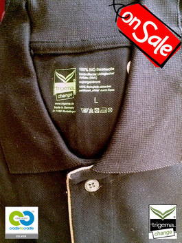 SALE (TWO ONLY) - Mens Large/XL Cradle to Cradle Certified™ Black Polo T-Shirt