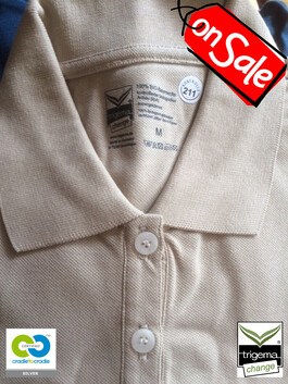 SALE (ONE ONLY) - Mens Medium Cradle to Cradle Certified™ Sand Polo T Shirt