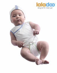 Laladoo - Kimo Baby Romper - White/Blue/Green