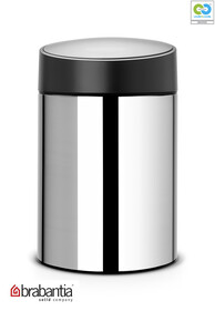 Brabantia - Slide Waste Bin Brilliant Steel Black Plastic Lid - 5L